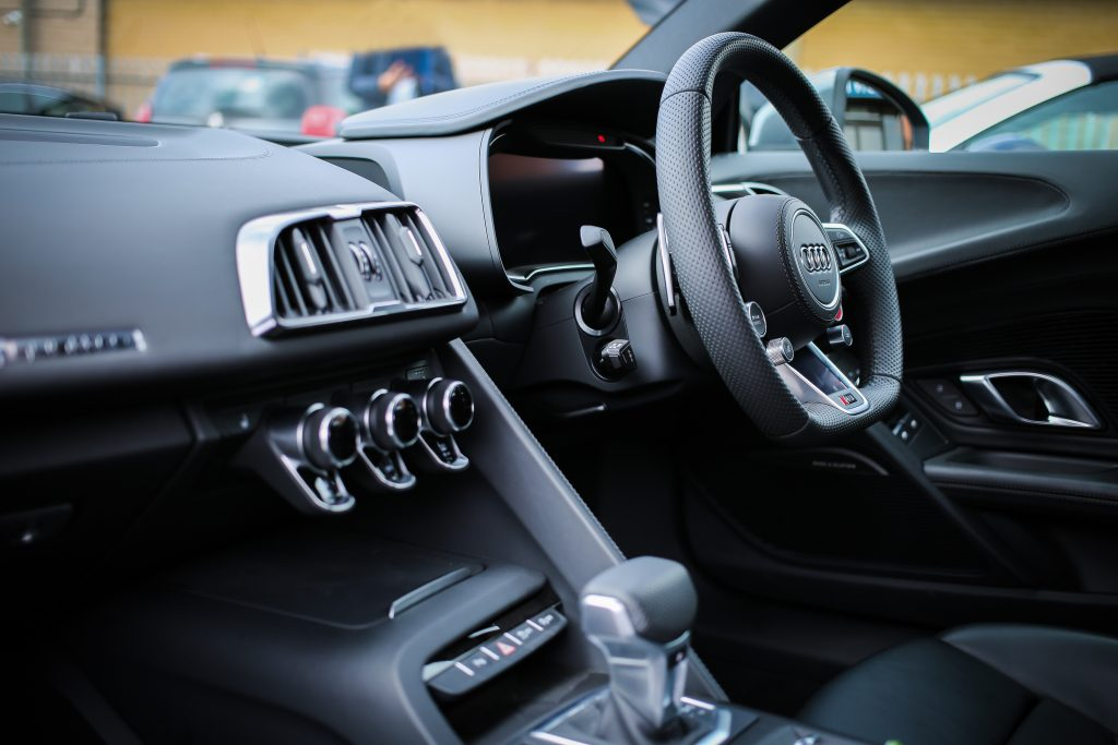 Audi mechanics display the interior of an audi